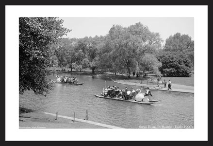 Swan Boats, Boston Common Early 1900's - vintage black & white photography art print restoration