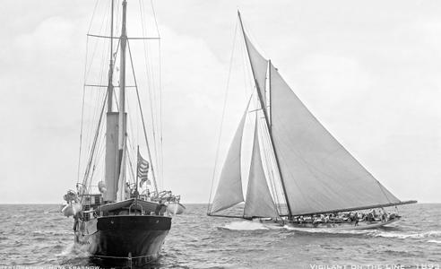 America's Cup Classic Vigilant on the line 1893 - Vintage Sailboat art print restoration for Interior Design