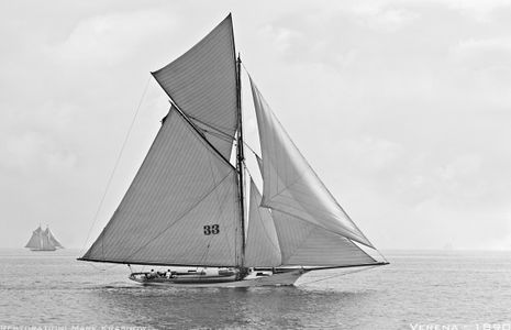 Verena 1890 - Vintage Sailboat art print restoration for Interior Design