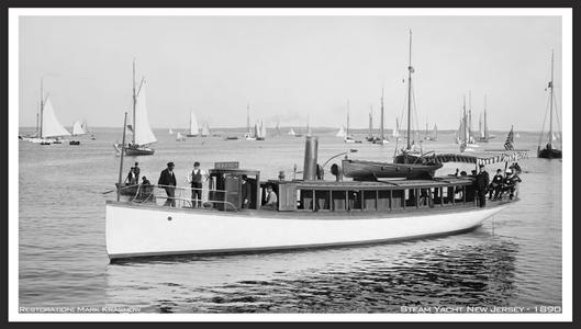 The New Jersey - New Rochelle 1890 - Vintage Nautical art print restoration for Interior Design