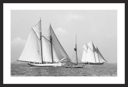 Start at Larchmont -1894  - Vintage sailing photography art print restoration