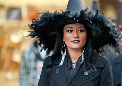 Woman in witch costume for Halloween in Salem, MA