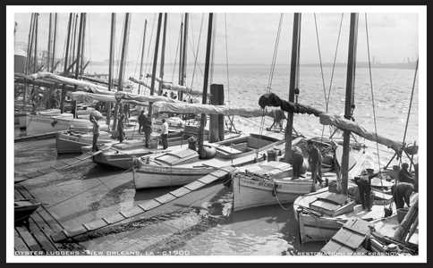 Oyster Luggers Retouched Vintage Art Print New Orleans - c1900