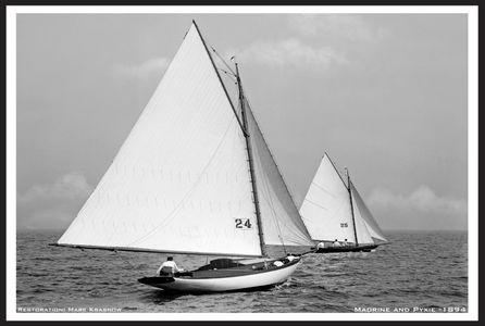 Vintage Sailboat Photo Restoration Art Print