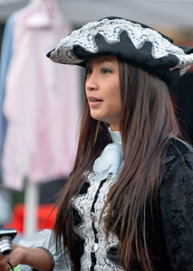 Girl in colonial costume for Halloween in Salem