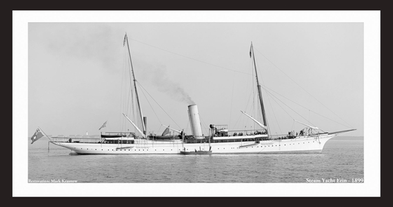 Vintage Yachting - Steam Yacht Erin - 1899 - Vintage Sailboats - Restored Art Prints for Home & Office