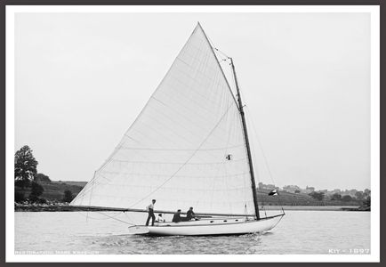 Vintage Sailboat Photo Restoration Art Print - Kit 1897