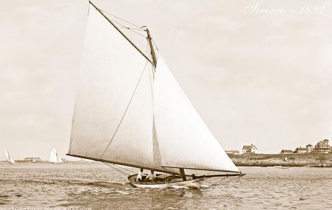 Vintage Restored Sailing Art Print - Sirocco 1892