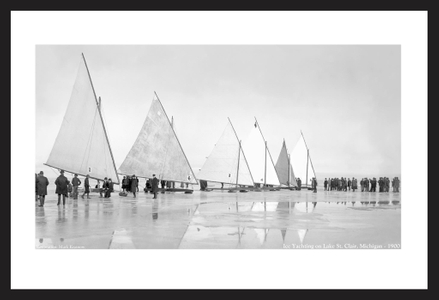 Ice Yachting on Lake St. Clair, MI - 1900 - black and white antique sailing art print restoration