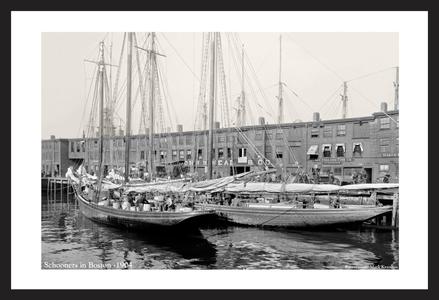 Historic Sailing art print restorations - Schooners in Boston - 1904
