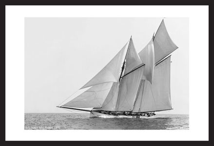 America's Cup Schooner Mayflower 1891 - black and white antique sailing art print restoration