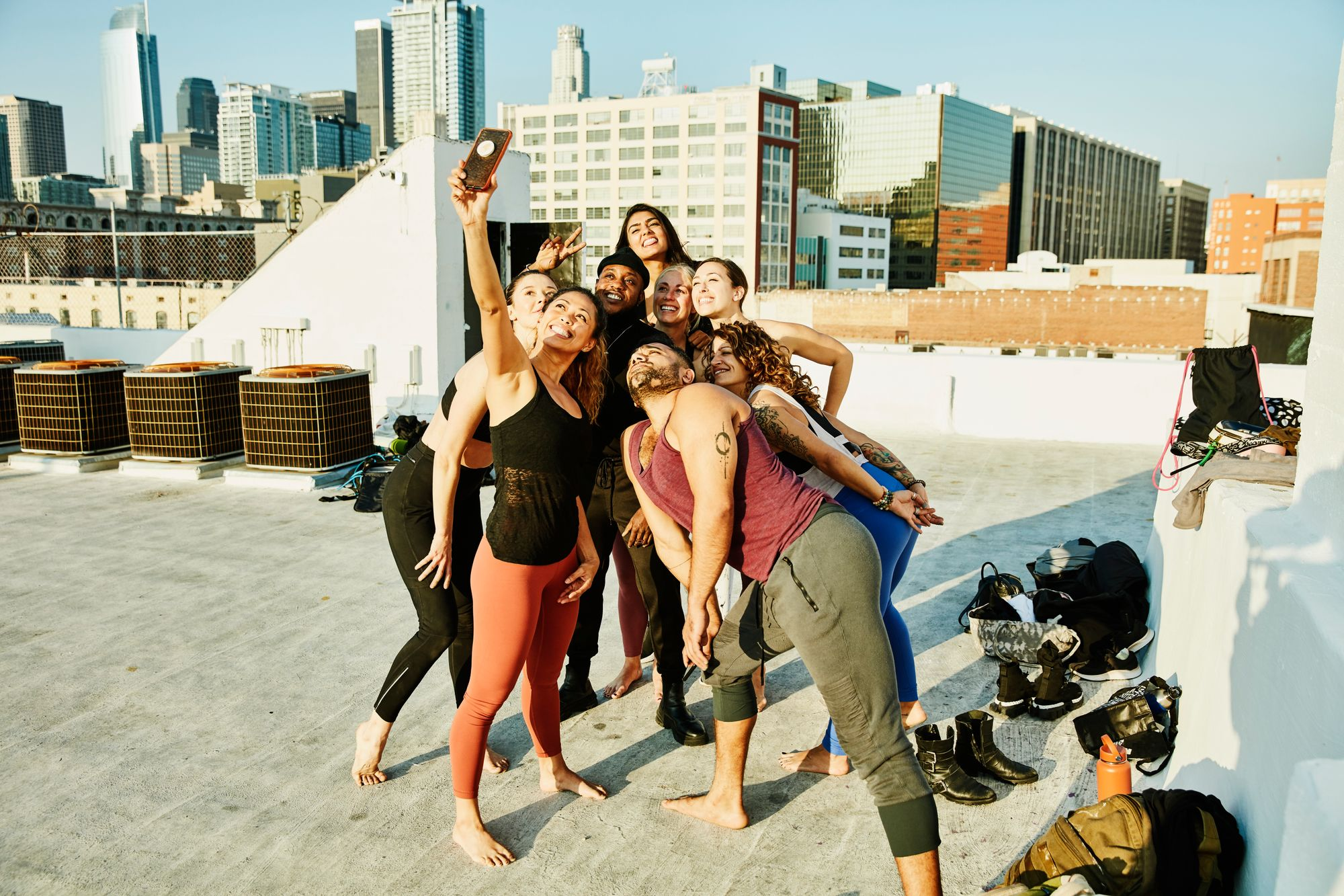 Group of yogis getting selfie