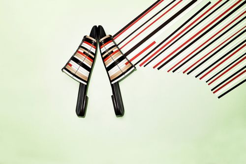 Shoes on stripe background