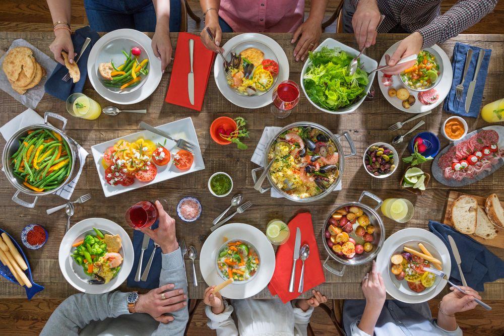 Overhead Family Dinner