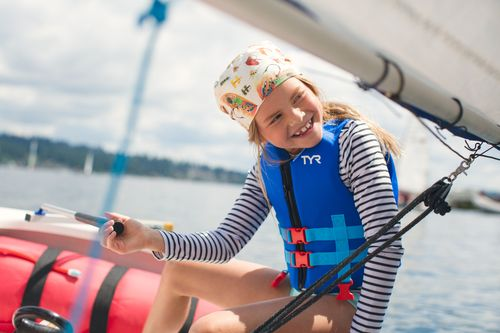 Girl Steering Sailboat
