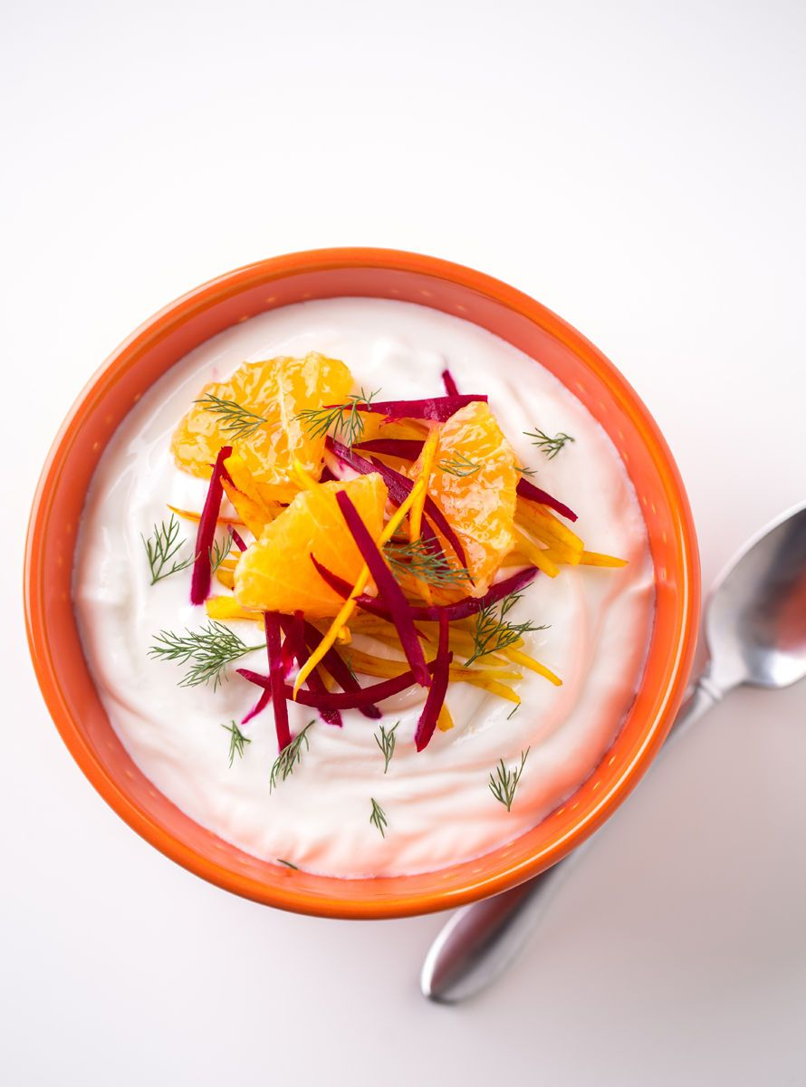 Beet orange yogurt bowl