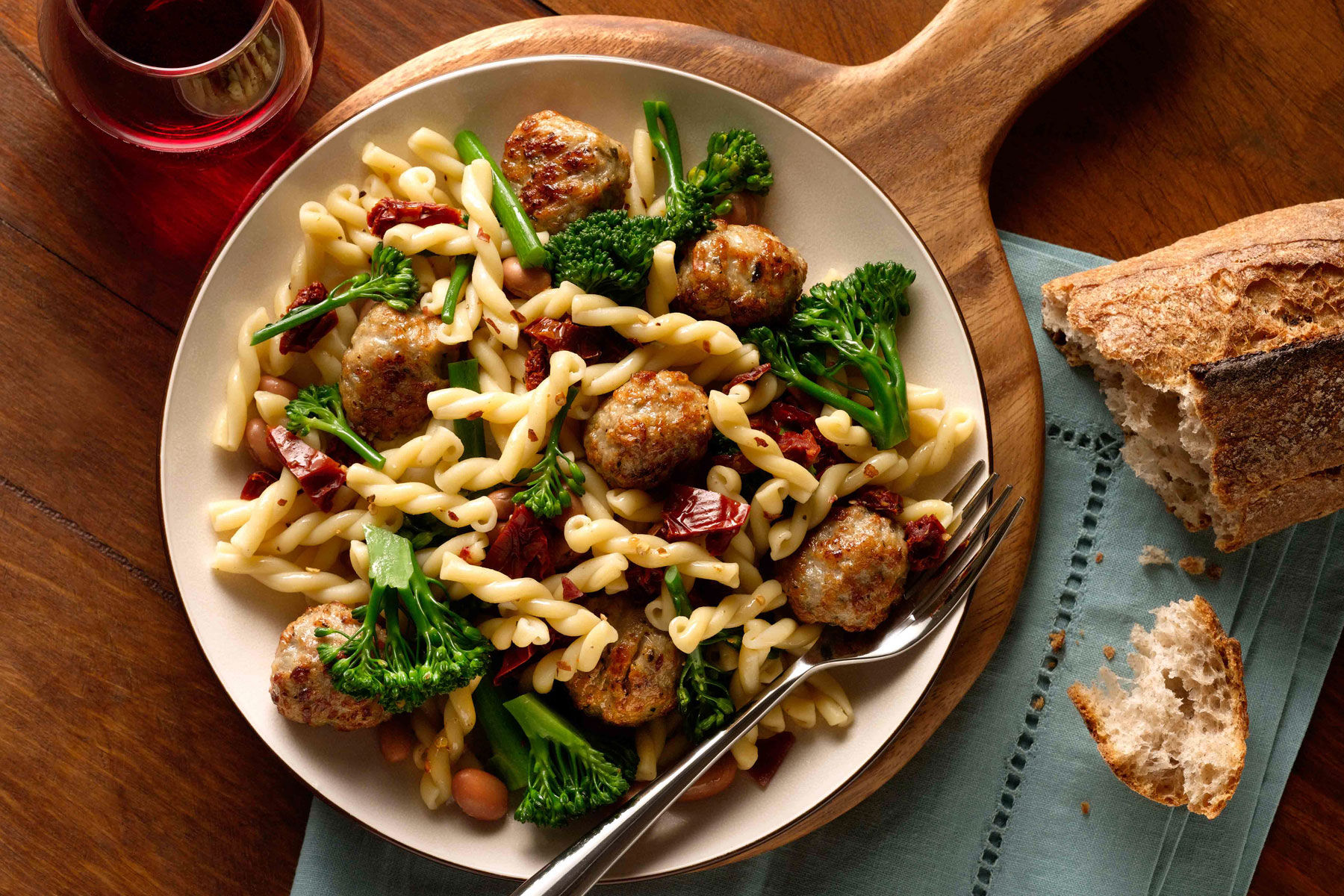 Gemelli with meatballs