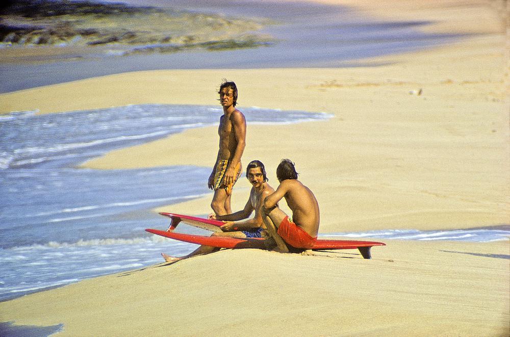 HERBIE FLETCHER, GERRY LOPEZ,BARRY KANIAUPUNI, SUNSET BEACH OAHU, HI. 1971.