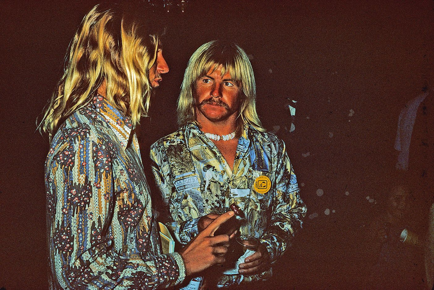 GREG LOEHR, MIKE PURPUS, HONOLULU, HI. 1974. HANG TEN  AWARDS PARTY.