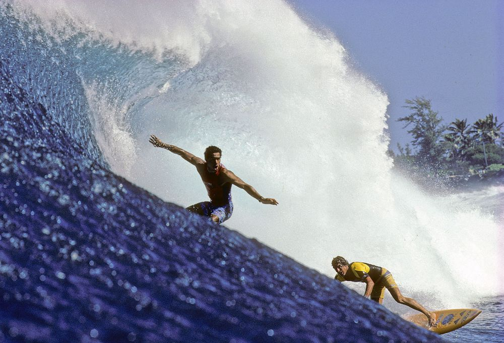 FRANCIS PALEA, JEFF JOHNSTON, SUNSET BEACH, HI. 1985