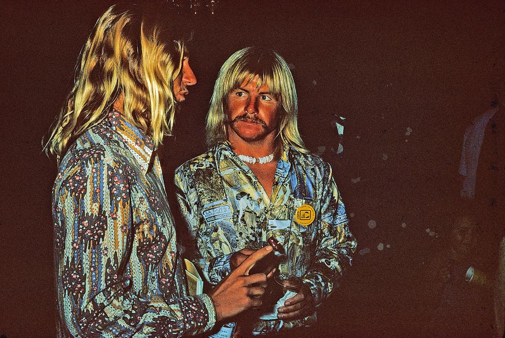 GREG LOEHR, MIKE PURPUS, HONOLULU, HI. 1974. HANG TEN  AWARDS PARTY.