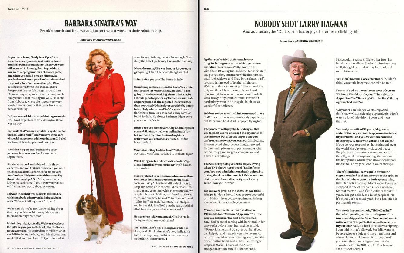 Barbara Sinatra, Los Angeles, CA  /  Larry Hagman, Santa Monica, CA