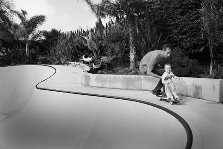 Tony Hawk with daughter Cadence, San Diego, CA
