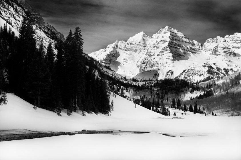 Maroon Bells, Winter, Colorado