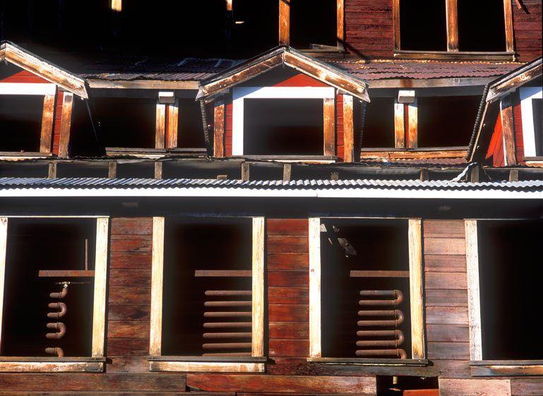 MILL WINDOWS, KENNECOTTWRANGELL-ST. ELIAS NATIONAL PARK, ALASKAIMAGE # 11476