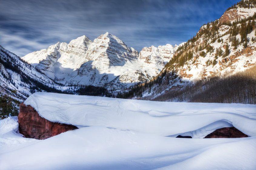 Maroon Bells, Winter, Aspen, Colorado