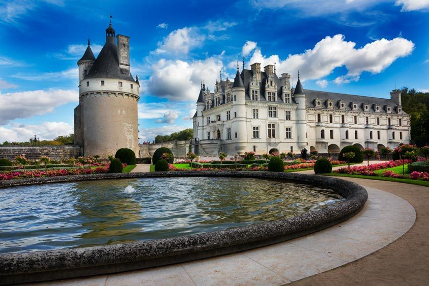 Catherine de Madici's Garden, Chatea de Chenonceau and Marques Tower, France