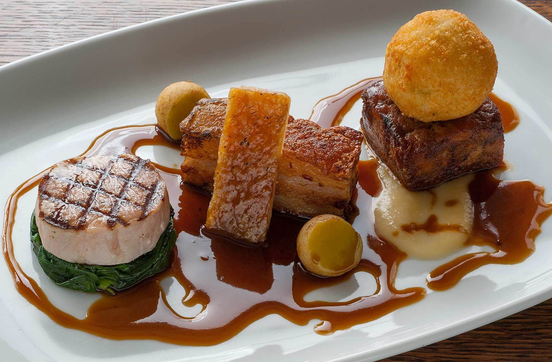 Food Photographer- plate of Pork from No9 Stratford upon Avon.
