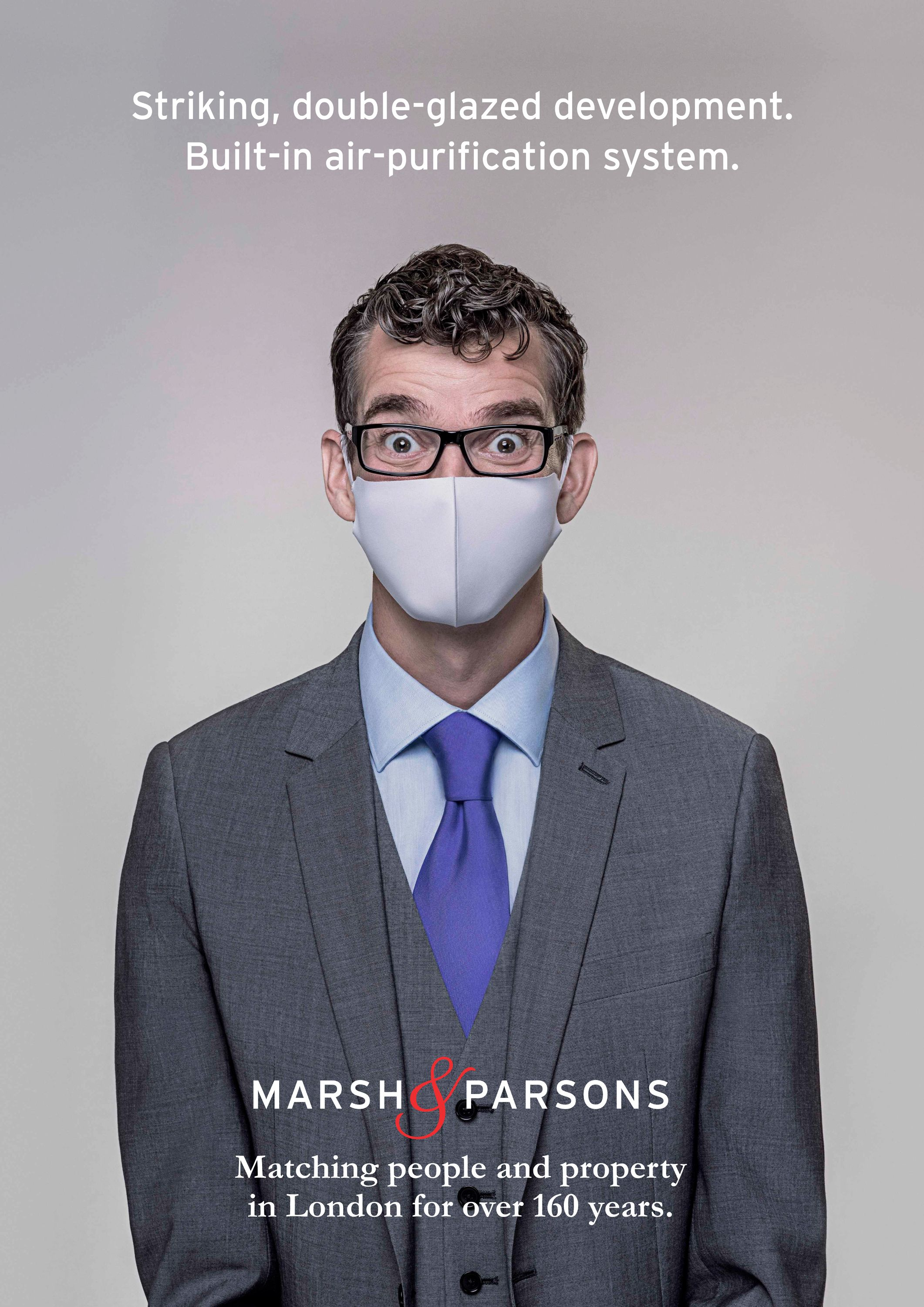 Advertising Photographer -portrait of man with facemask and glasses, for Brand campaign - client Marsh & Parsons.
