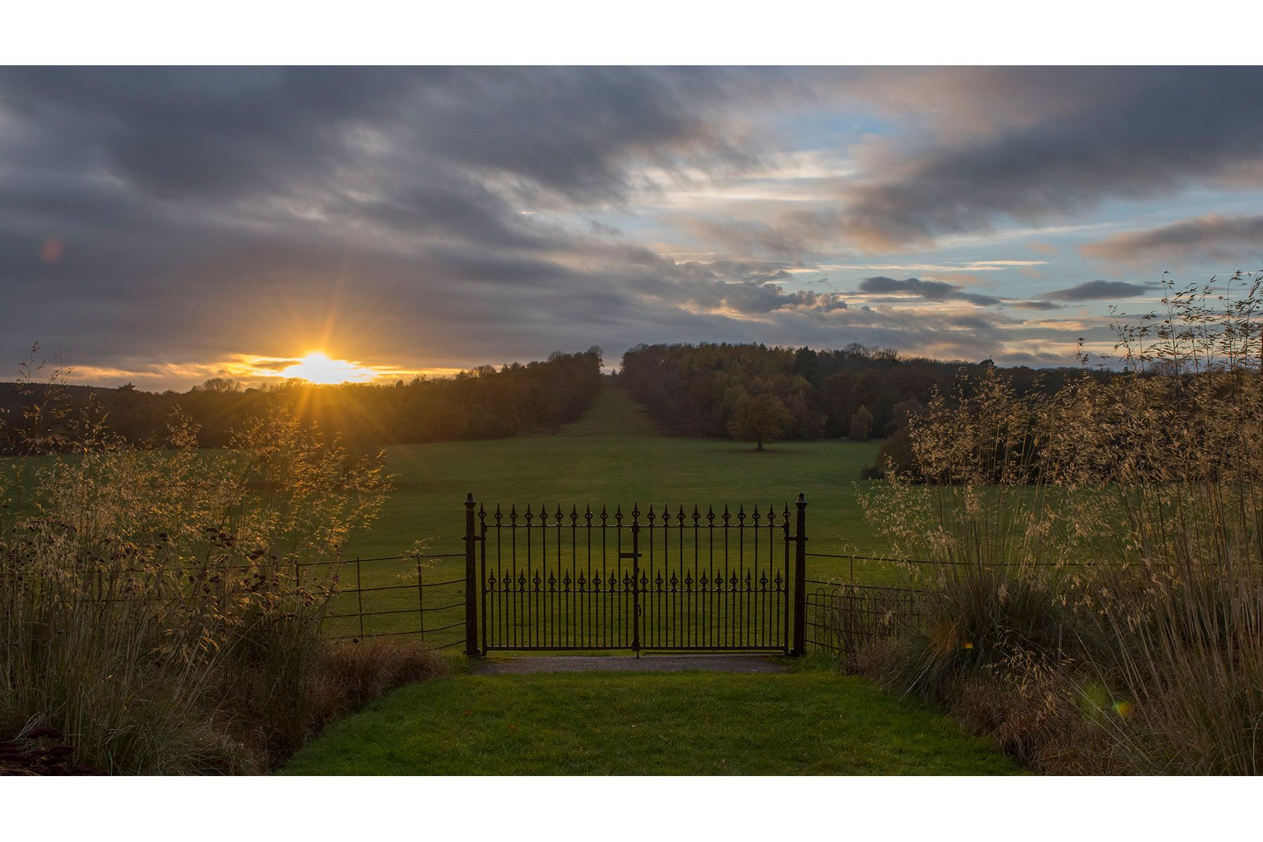 Ragley .Looking west  from the Garden in late Autumn at sunset .