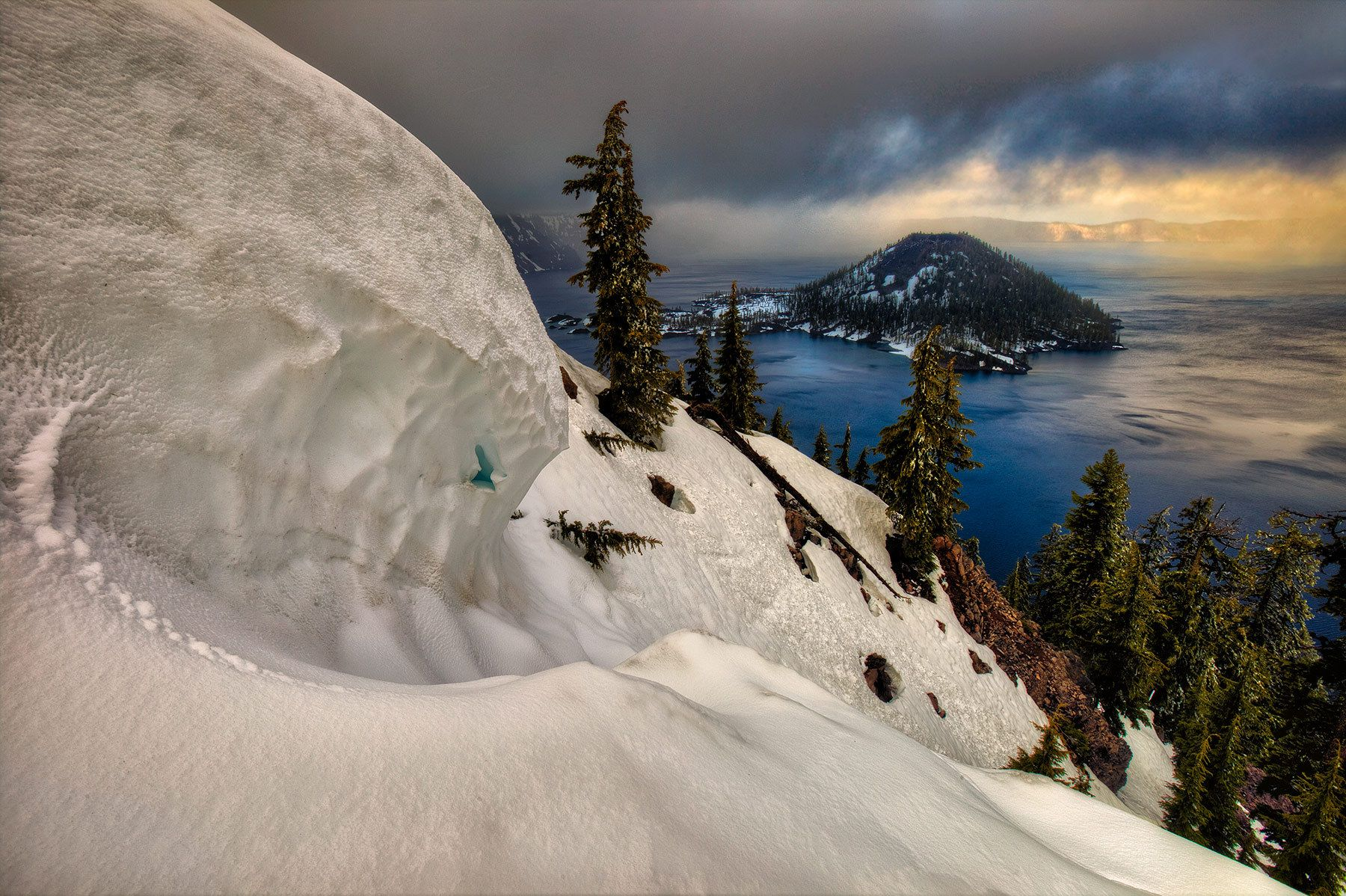 Snowdrift and Wizard Island, Crater Lake National Park, Oregon
