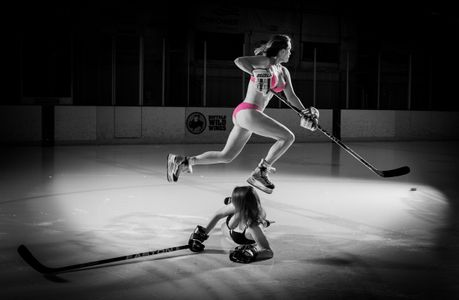 Photographed for Bozeman Women's Hockey team calendar