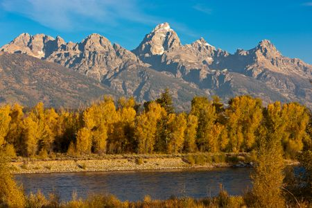Teton Mountain over the Snake River