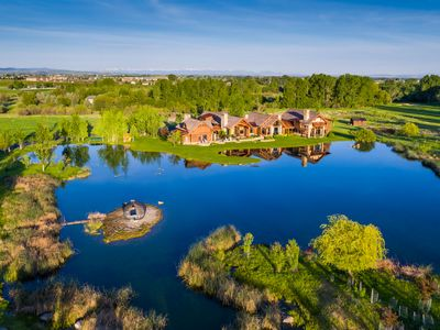 Aerial over pond