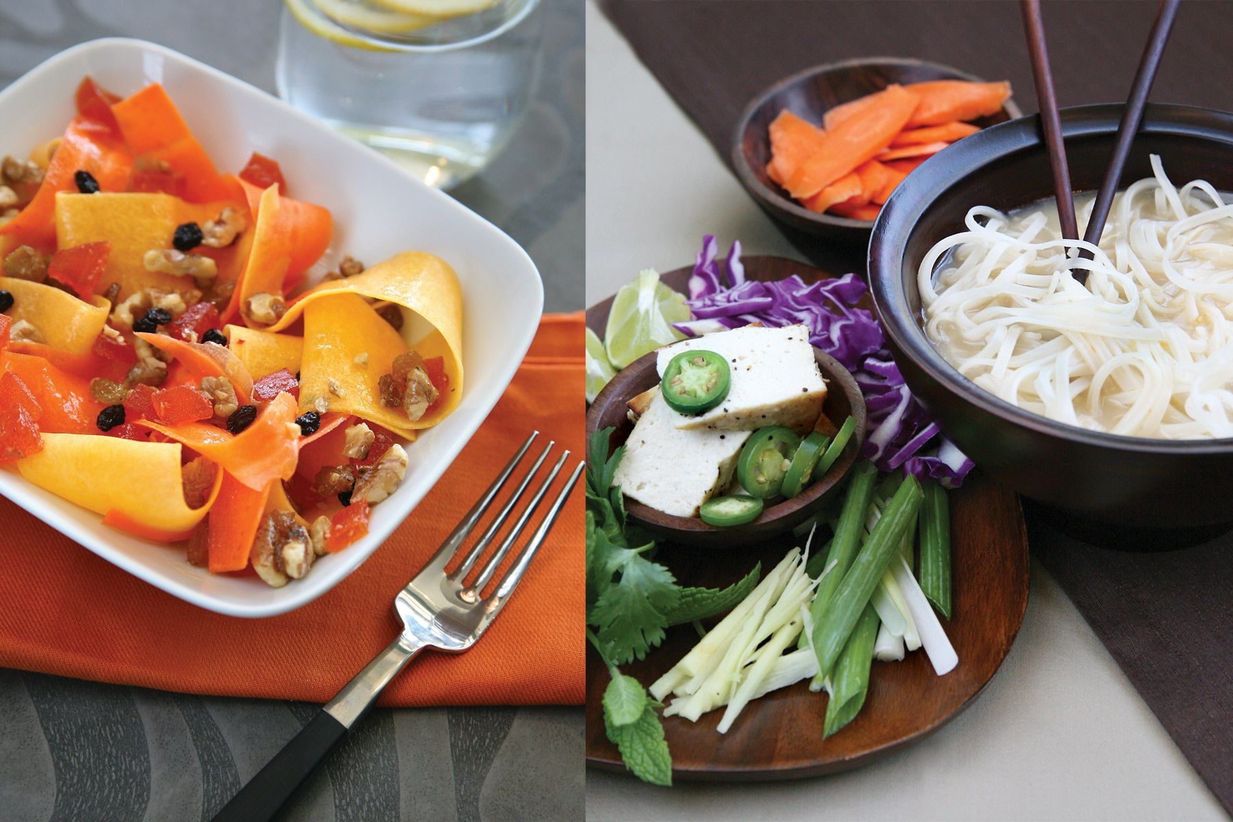 Left: Carrot and Butternut Squash SaladRight: Spicy Asian Noodle Soup
