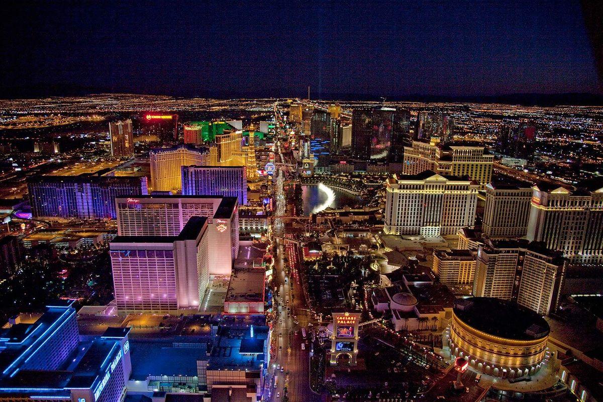 Aerial view of Las Vegas Strip at night