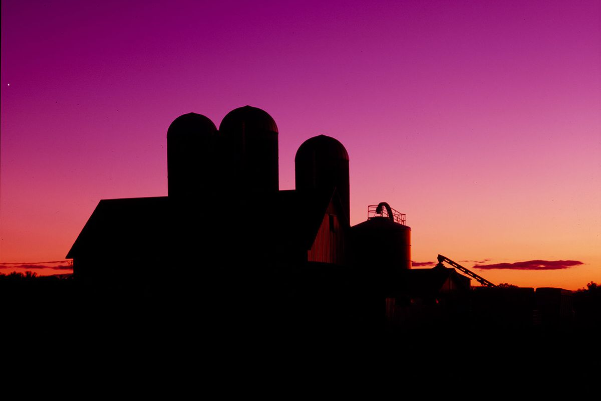 silhouette of an American barn