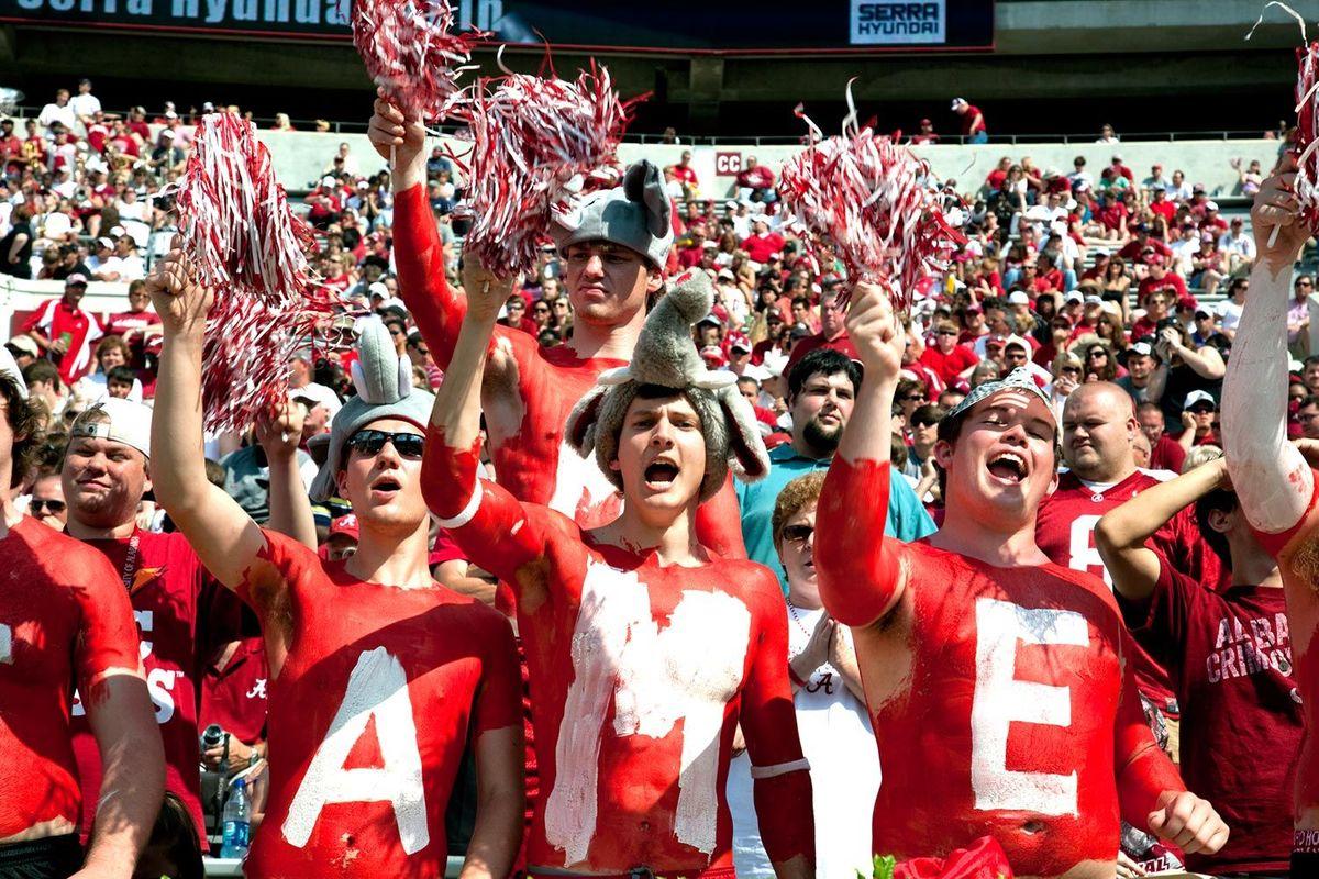 Alabama Football fans in Tuscaloosa, Alabama