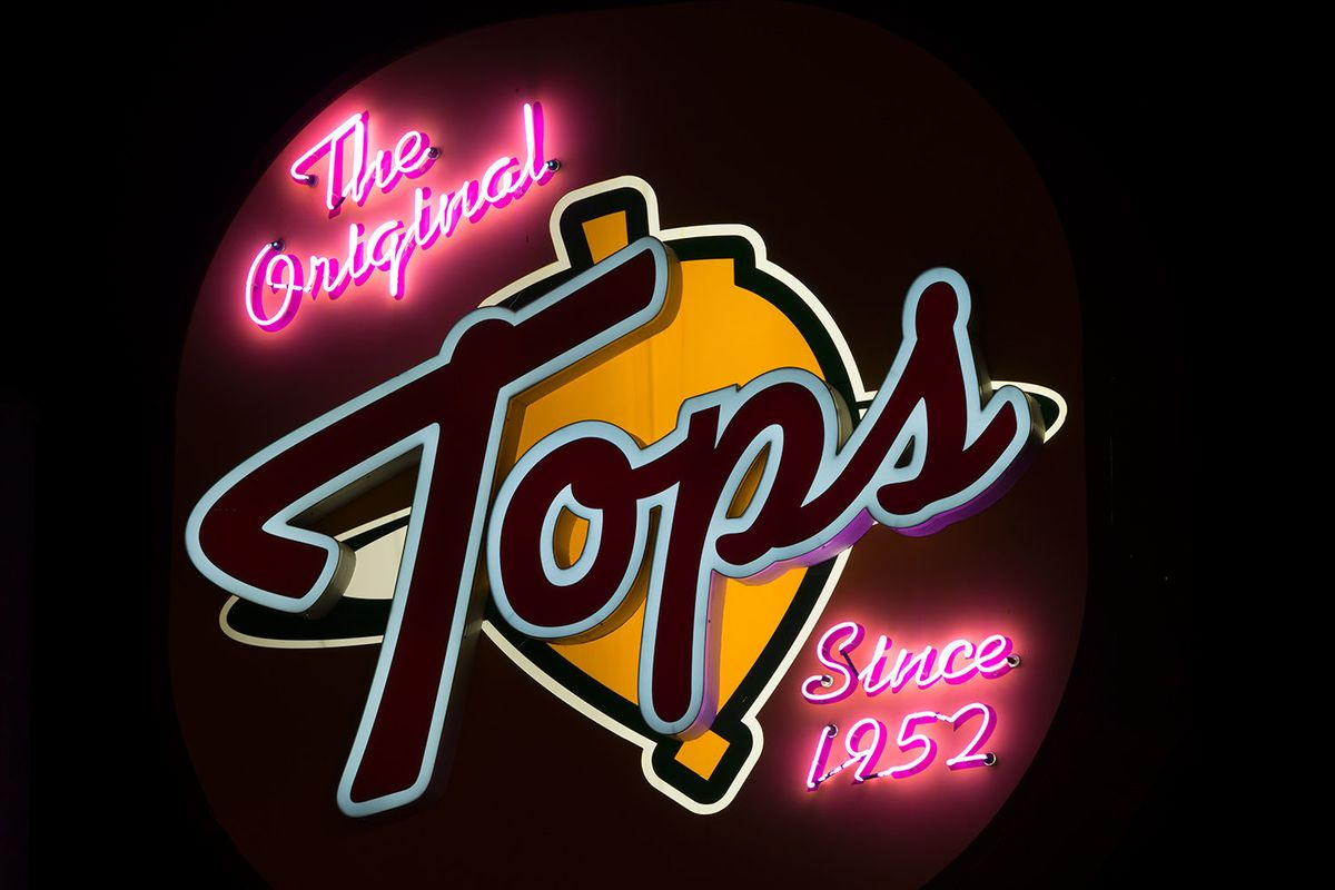 Neon sign from the original Tops restaurant in Pasadena, California