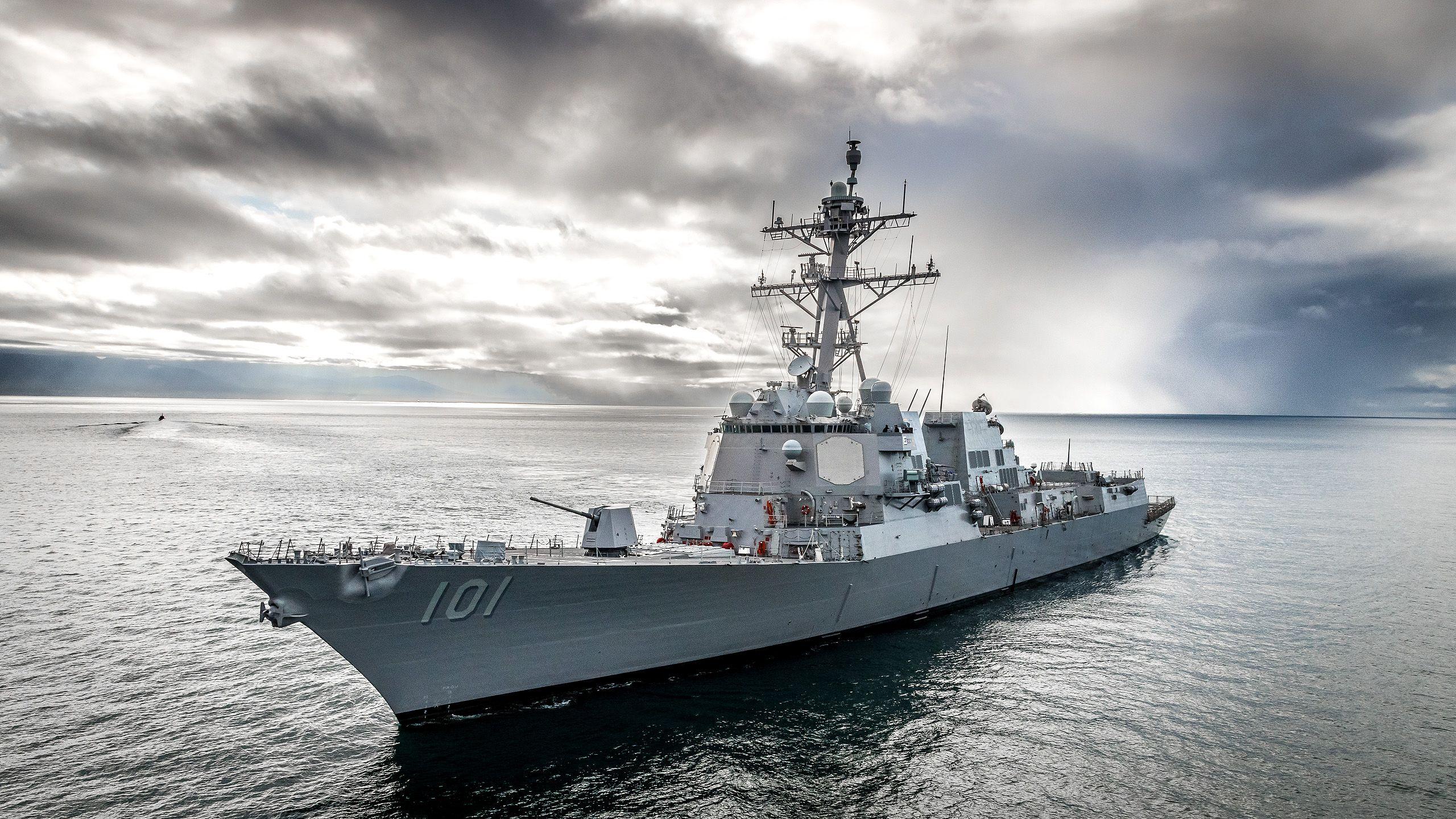 US Navy Destroyer. Sea trials.