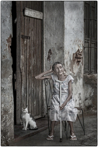 Cuban Woman With Her Cat