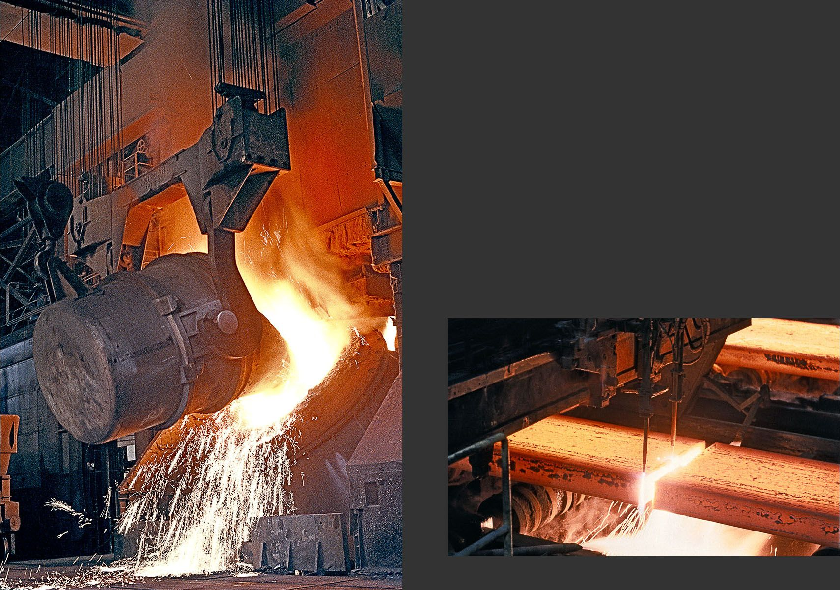 Steel Production:  Charging Basic Oxygen Furnace;  Continuous Caster Slab Cutting