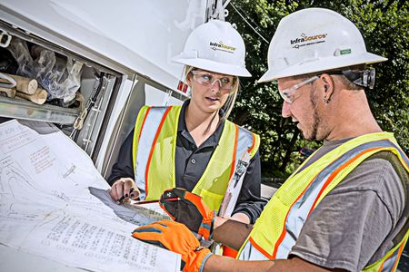 Utilities Construction Contractors Review Plans in the Field
