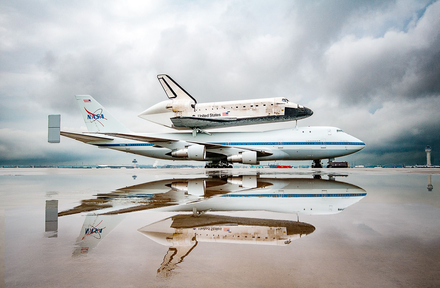 Space Shuttle Discovery Atop the Shuttle Transport Aircraft at Dulles Int'l. Airport