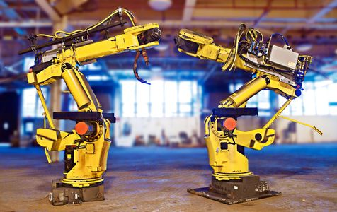 Auto Manufacturing Robots Awaiting Re-Installation