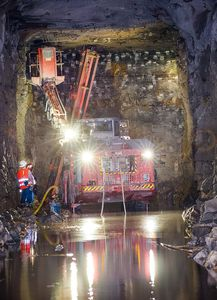 Drilling for Blasting Charges, Tunnel Construction, Louisville, KY